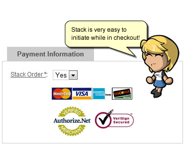Stack on checkout page